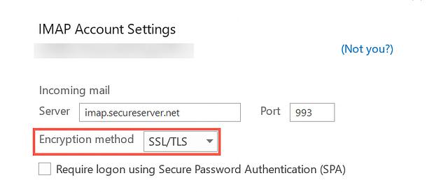 Select the Encryption method
