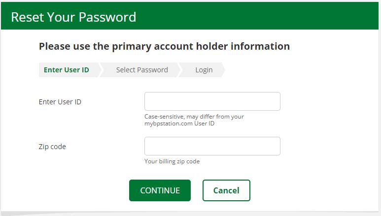 Reset BP Card Login Password