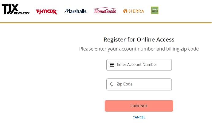 TJMAXX Credit Card Registration
